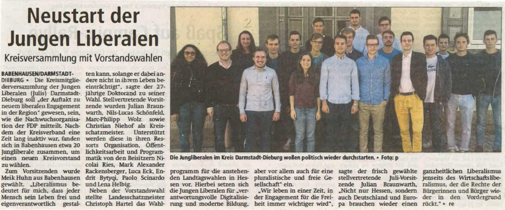 Zeitungsartikel der Offenbach Post vom 25.10.2018 mit der Überschrift: Neustart der Jungen Liberalen